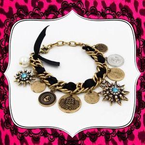 Betsey Johnson pearl rhinestone ribbon bracelet